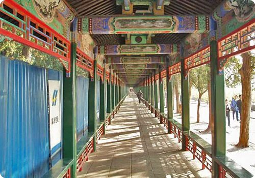 The Long Corridor is delicately decorated with colorful painting.