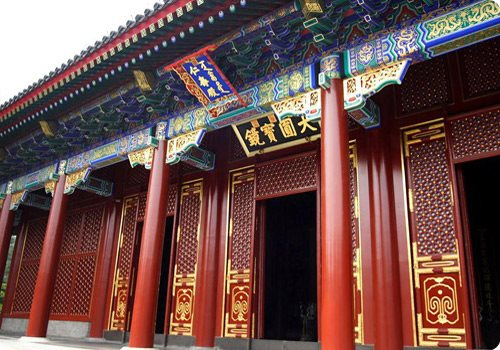 The Hall of Benevolence and Longevity is an imposing traditional Chinese architectural complex.